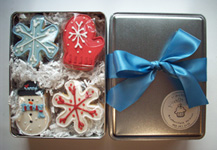 Winter Cookie Tins, gourmet hand decorated cookies