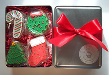 Christmas Cookie Tins, gourmet hand decorated cookies